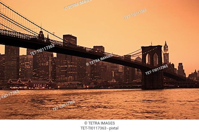 Lower New York and Brooklyn Bridge New York NY