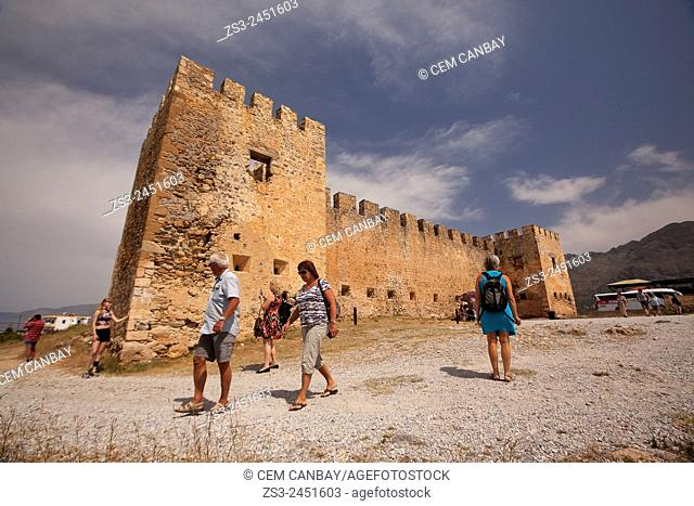 Tourists near the Venetian Castle Frangokastello near Chora Sfakion in Rethymno Region, Crete, Greek Islands, Greece, Europe