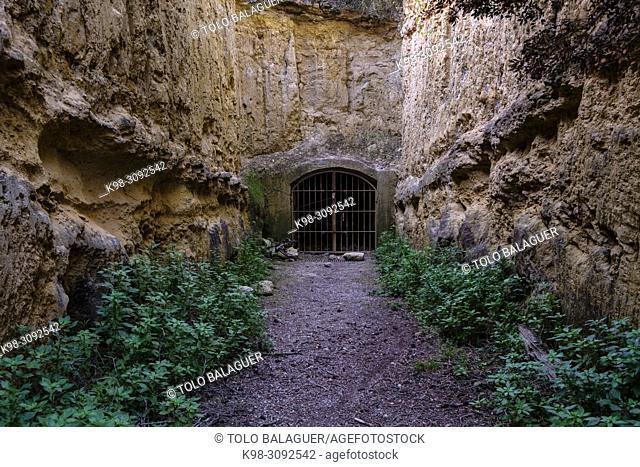 cueva del siglo XIV, bajo el castillo de BellverPalma, Mallorca, balearic islands, Spain