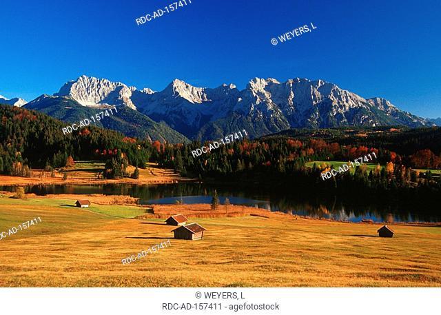 Karwendel mountains and lake Geroldsee Bavaria Germany Wagenbruchsee Wagenbrüchsee