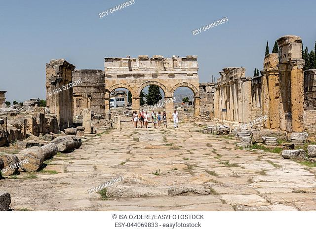 People visit latrine along Frontinus Street at Hierapolis ancient city in Pamukkale, Turkey. 25 August 2017