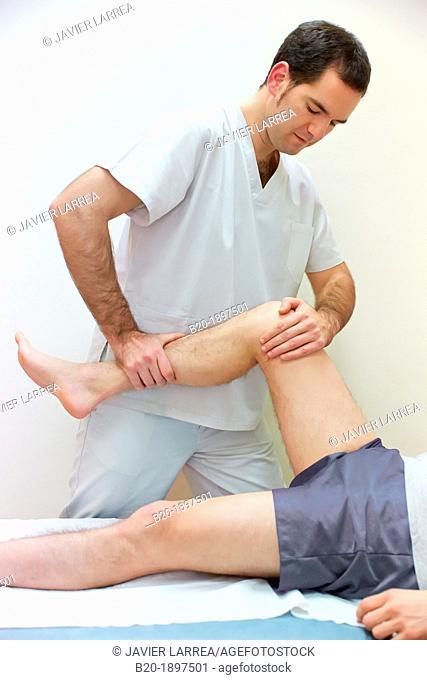 Mobilization passive knee flexion to win articular arc  Physiotherapy medical center, Donostia, San Sebastian, Gipuzkoa, Basque Country, Spain