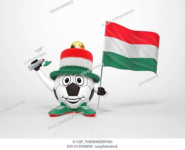 Soccer character fan supporting Hungary