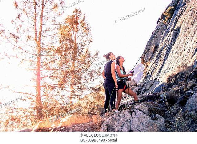 Rock climbers rock climbing, Yosemite National Park, United States