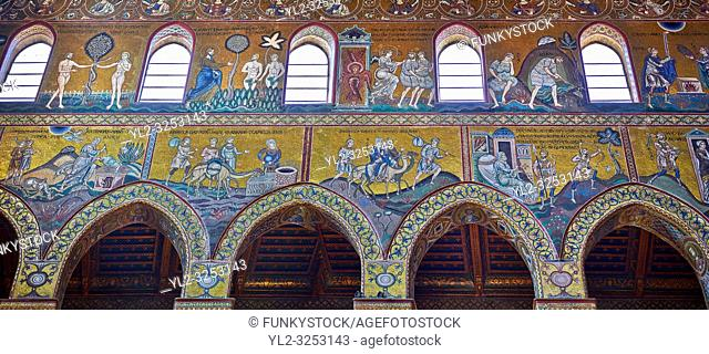 North wall mosaics depicting scenes from the Bible in the Norman-Byzantine medieval cathedral of Monreale, province of Palermo, Sicily, Italy