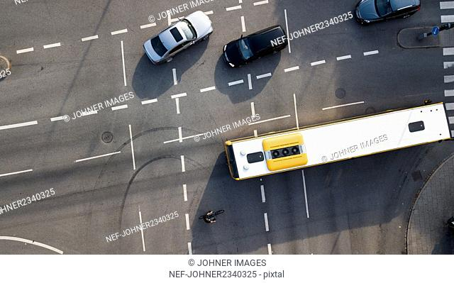 Aerial view of vehicles on crossroad