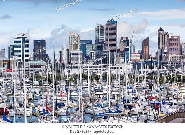 New Zealand, North Island, Auckland, skyline from Westhaven Marina
