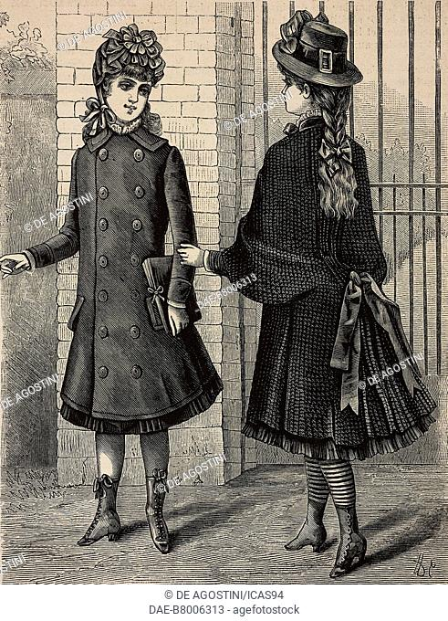 Spring overcoats for girls, designs by Grands Magasins du Louvre, engraving from La Mode Illustree, No 10, March 8, 1885