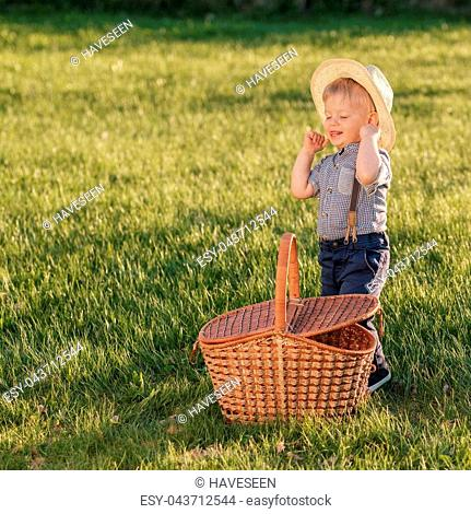 Baby boy wearing cowboy hat Stock Photos and Images  9147f0b4344