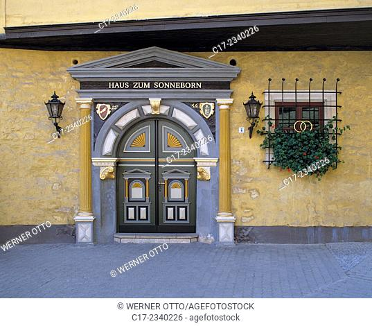 Germany. Erfurt, Gera, Gera Valley, Thueringer Becken, Steigerwald, Thuringia, House zum Sonneborn, entrance, portal, wedding house, civil registry office