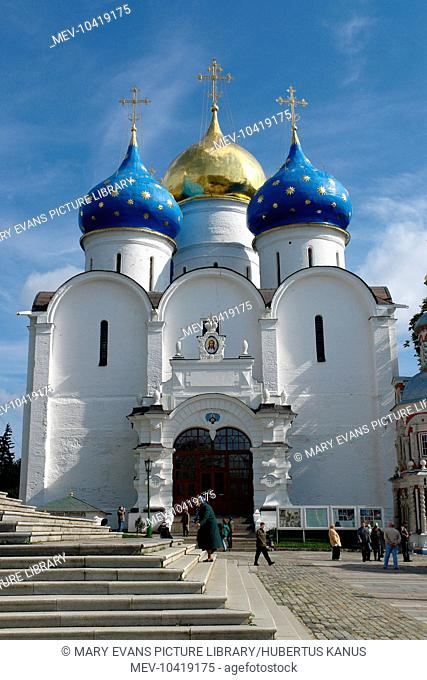 Main entrance to the Assumption Cathedral, in the town of Sergiyev Posad, Russia. The cathedral was built in the 16th century