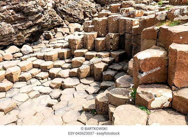 The Giants Causeway in County Antrim of Northern Ireland is declared a World Heritage Site by UNESCO containing about 40000 interlocking basalt columns being a...