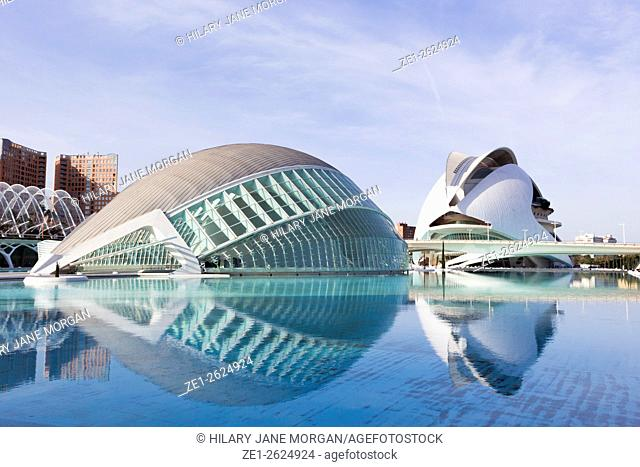 Valencia, Spain. The City of Arts and Sciences. L'Hemisfèric. El Palau de les Arts Reina Sofia in the background