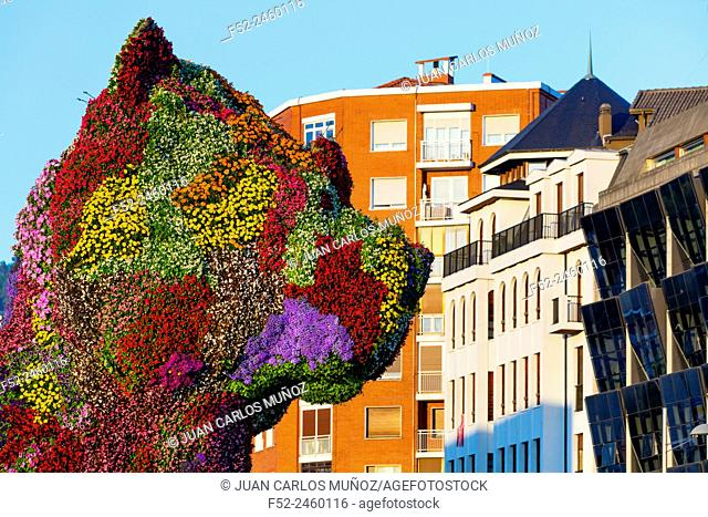 Puppy, by Jeff Koons. Guggenheim Museum, Bilbao, Bizkaia, Basque Country, Spain, Europe