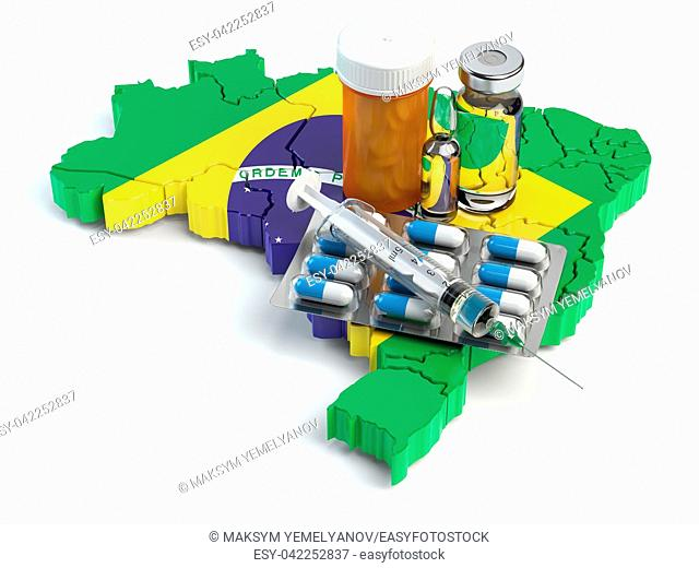 Health, healthcare, medicine and pharmacy in Brazil concept. Pills, vials and syringe on the map of Brazil isolated on white background