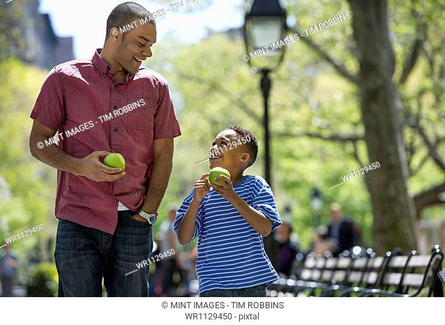 A family in the park on a sunny day. A man and a boy eating apples