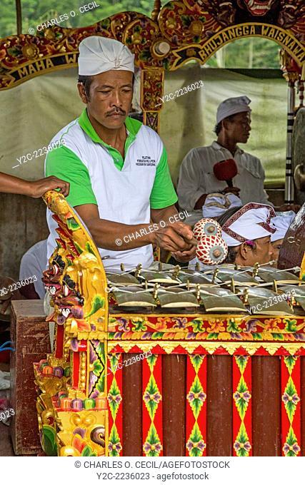 Jatiluwih, Bali, Indonesia. Metallophone (Jegogan) Player in a Gamelan Orchestra, Luhur Bhujangga Waisnawa Hindu Temple