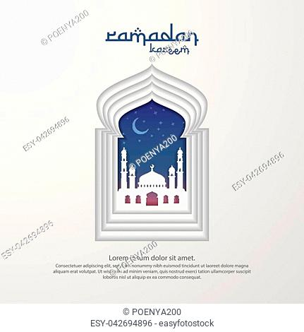 Ramadan Kareem islamic greeting card design with 3D dome mosque element in door or window with paper cut style . background Vector illustration