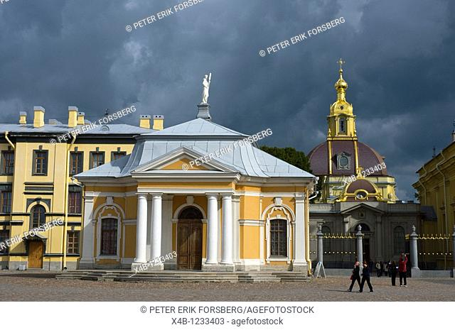 Boat House inside the walls of Peter and Paul fortress in Zayachy island central St Petersburg Russia Europe