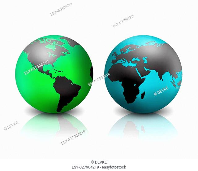 two world globes on a white background