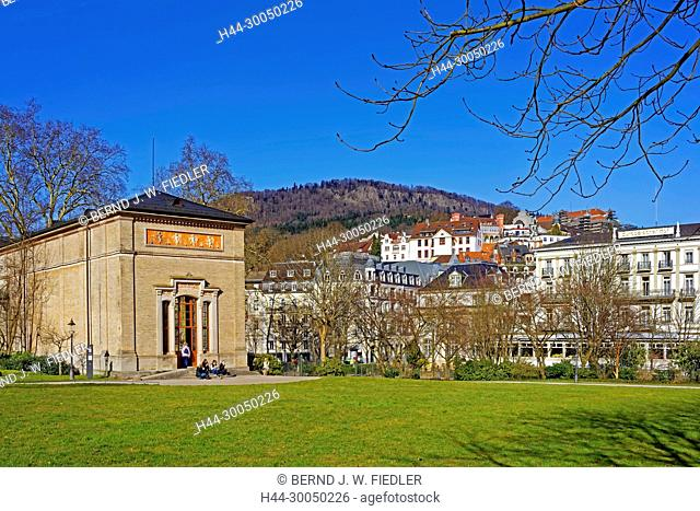 Health resort park, pump room, local view, Baden-Baden Germany