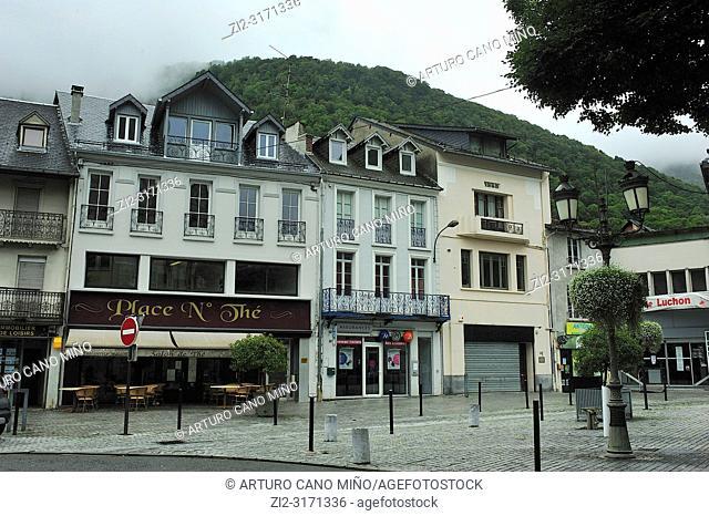 An square at the city. Bagneres de Luchon town; Haute-Garonne department; Occitanie region; France