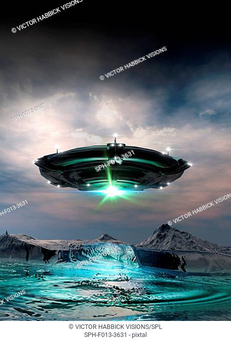 UFO above planet surface, illustration
