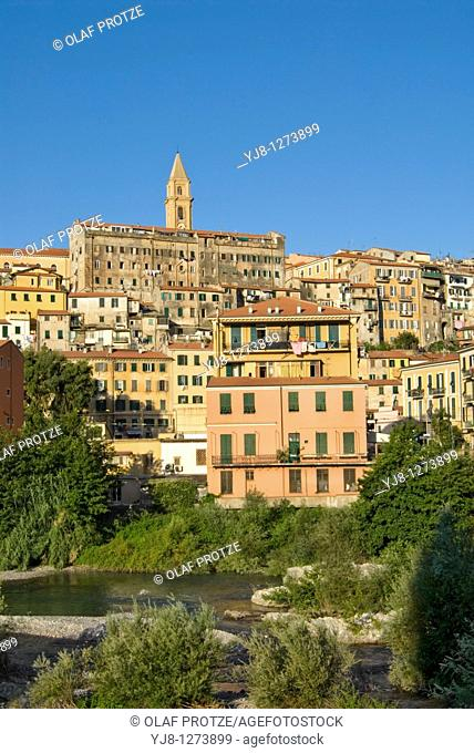 View at the historical old town of Ventimiglia in Liguria, North West Italy