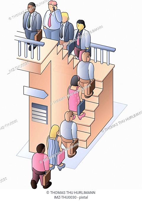 People walking up stairs in an orderly line