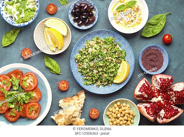 Various Arabic appetizers (seen from above)