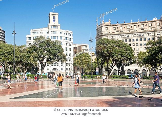 BARCELONA, SPAIN - JULY 31, 2012: View over Plaza Catalunya and buildings on a sunny summer day on July 31, 2012 in Barcelona, Spain