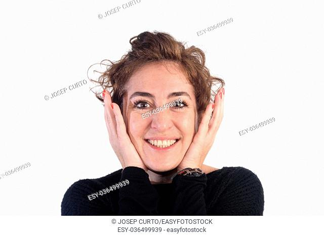 Woman with happy face and white background