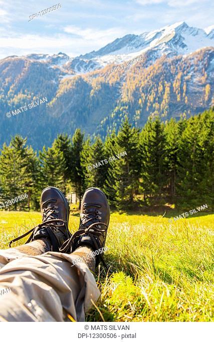 A hiker in the swiss alps; San Bernardino, Grisons, Switzerland