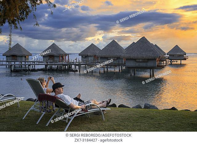 Romantic sunset at Meridien Hotel on the island of Tahiti, French Polynesia, Tahiti Nui, Society Islands, French Polynesia, South Pacific