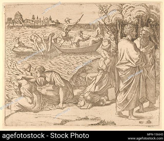 The Miraculous Draught of Fishes. Artist: Anonymous, French, School of Fontainebleau, 16th century; Artist: Raphael (Raffaello Sanzio or Santi) (Italian