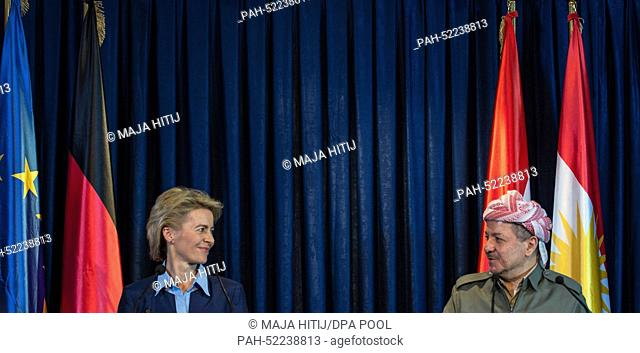Masoud Barzani (R), President of the Kurdish Autonomous Region in North Iraq and German Defence Minister Ursula von der Leyen hold a press conference in Erbil