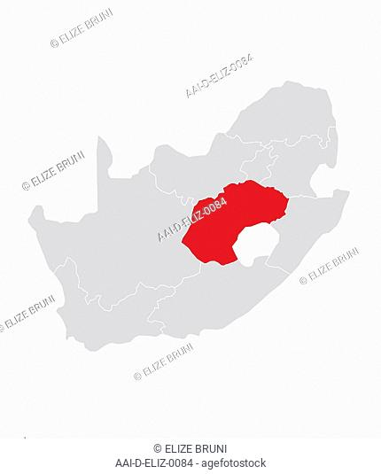 Map of Free State, South Africa