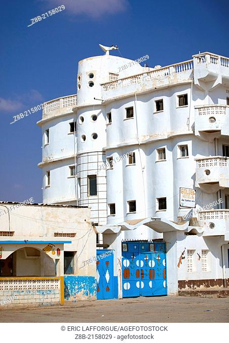 BURAO, SOMALILAND - NOVEMBER 30: white building of an abandoned golden hotel, Somaliland is a former Somali province that declared independence shortly after...