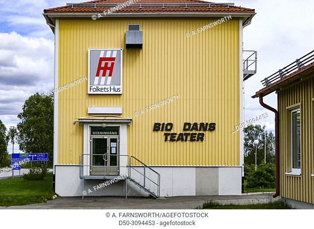 The local Folkets Hus in town with movie, dance and theater facilities. Close to Karesuando, Sweden's northernmost town on the border with Finland