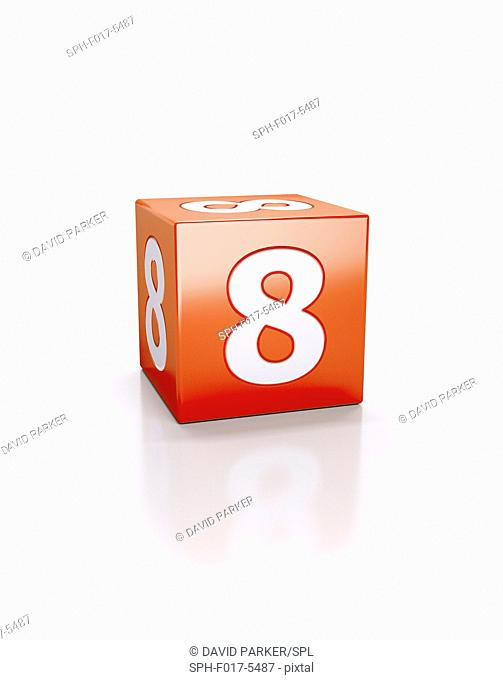 Red cube with the number eight