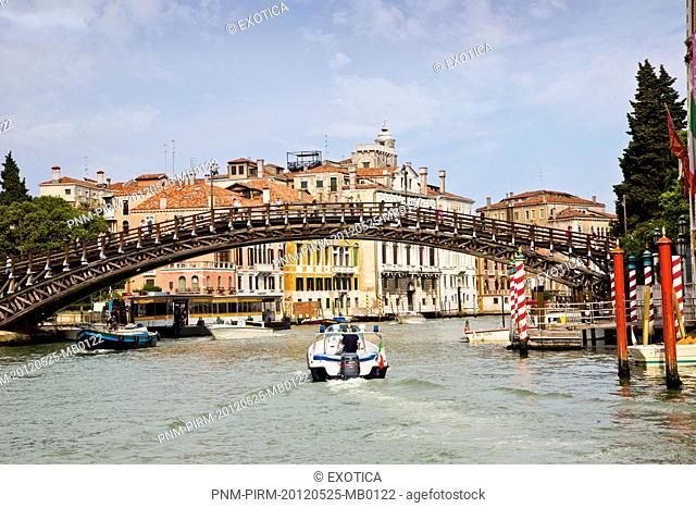 Bridge over a canal, Accademia Bridge, Grand Canal, Venice, Veneto, Italy