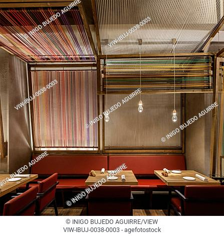 Patka Restaurant, Barcelona, Spain. Architect: El Equipo Creativo, 2013. Mid afternoon, tables are laid out