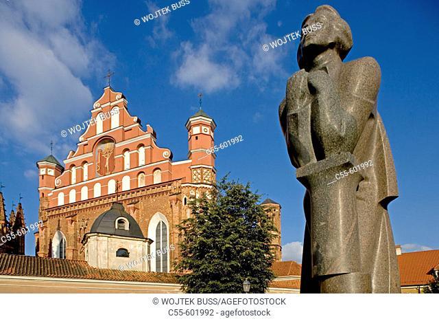 Bernardins Church, Statue of Adam Mickiewicz. Vilnius. Lithuania