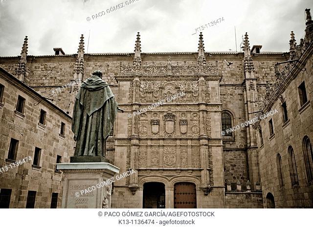 Plateresque façade of old Escuelas Mayores, University of Salamanca  Castilla-León, Spain