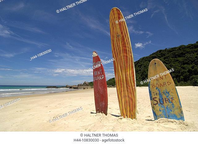 Brazil, South America, Ilha Grand, Praia de Lopes Mendes, island, isle, beach, seashore, sand beach, surfboards, adver