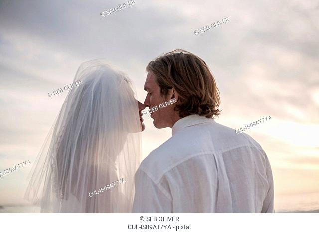 Bride and groom on beach, face to face, outdoors, rear view