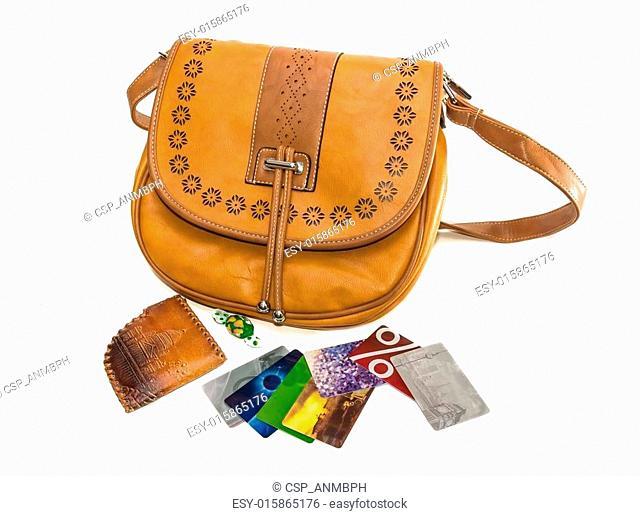 Ladies handbag, wallet and bank cards