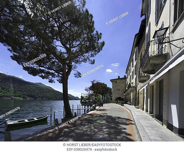 The promenade of Morcote with Lake Lugano - Morcote, Lake Lugano, Lugano, Ticino, Switzerland, Europe