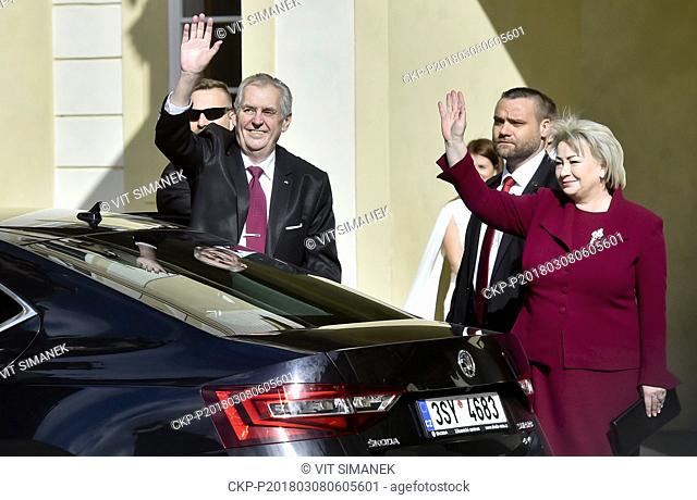 From left Czech President Milos Zeman and his wife Ivana Zemanova are arriving prior to ceremonial meeting of second inauguration of Milos Zeman in the...