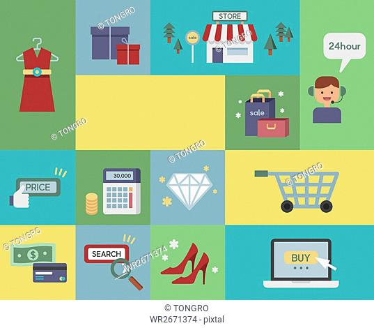Various icons related to shopping